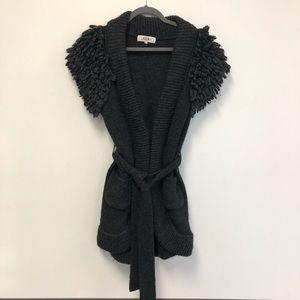 Tibi Gray Belted Sweater Vest